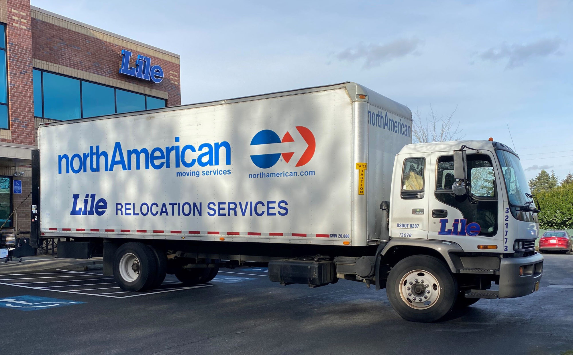 Lile moving and storage box truck outside its Tigard Oregon office headquarters
