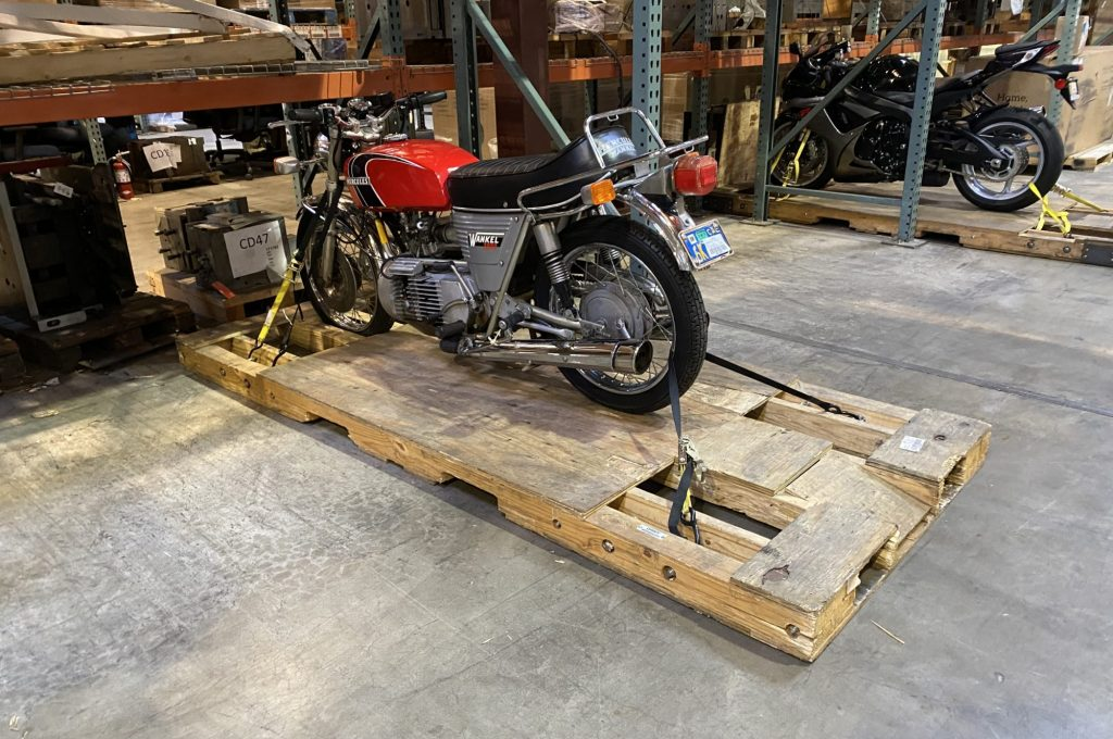 Motorcycles in storage at Lile Porland warehouse
