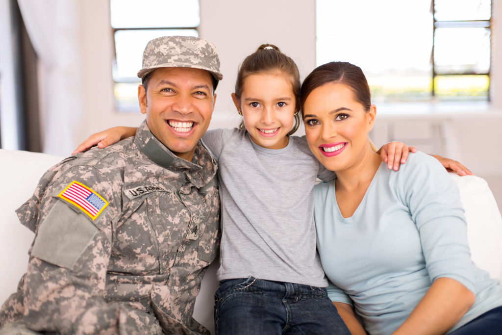 military family inside their home
