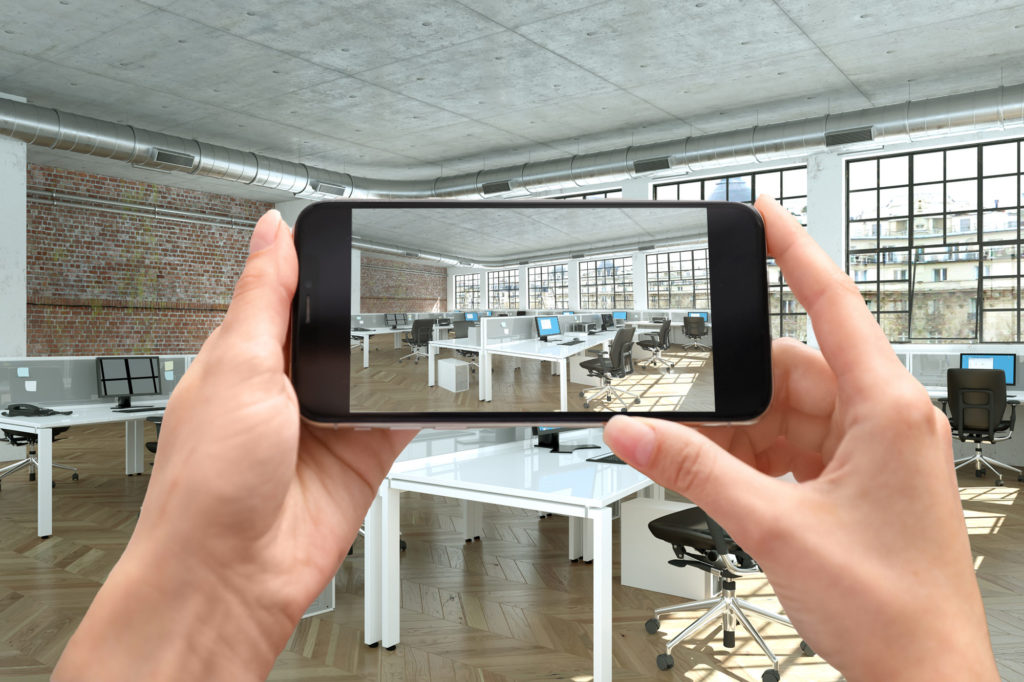 virtual commercial moving of an office space